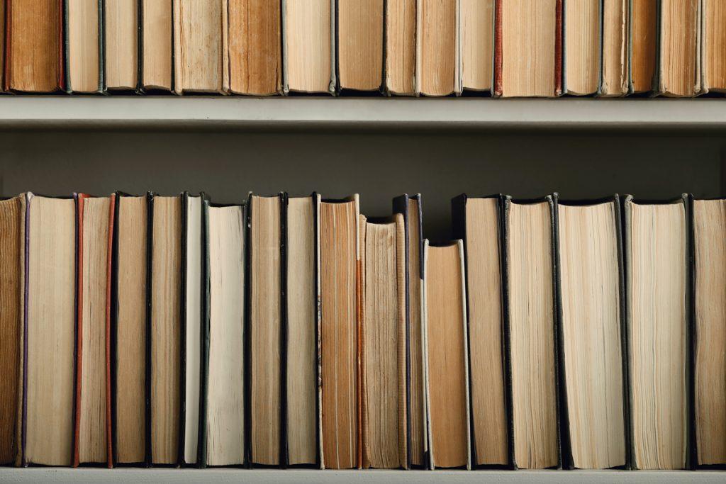 Books on a book shelves.