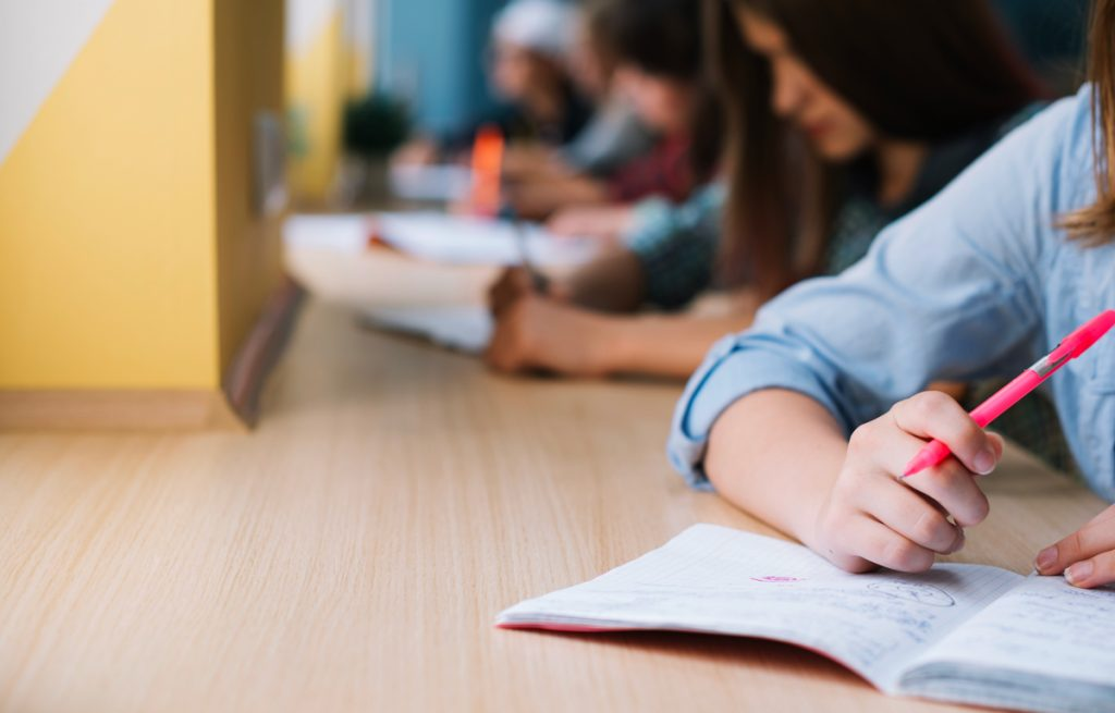 Unrecognizable schoolgirl writing in notepad.